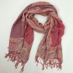 Kavi Pink Kashmiri Shawl Geometric Embroidered